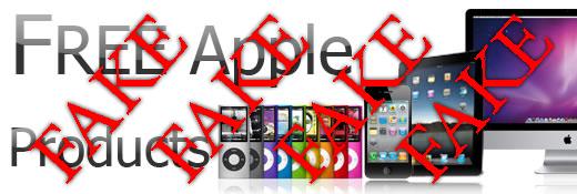 Não caia em paginas de internet onde prometem que dão produtos da Apple gratis.