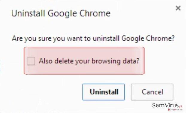 Eliminar também os seus dados de navegação