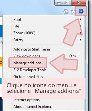 Clique no ícone do menu e selecione 'Manage add-ons'