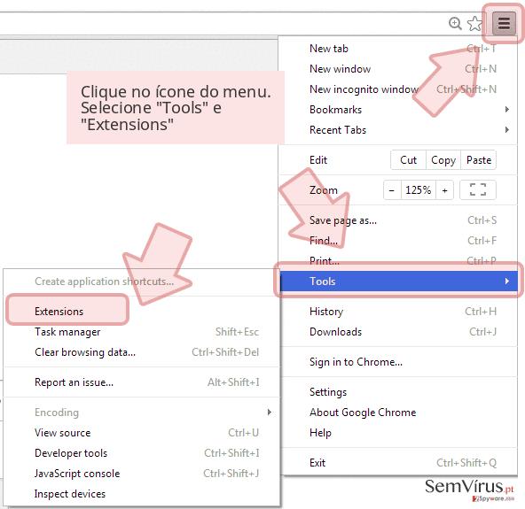 Clique no ícone do menu. Selecione 'Tools' e 'Extensions'