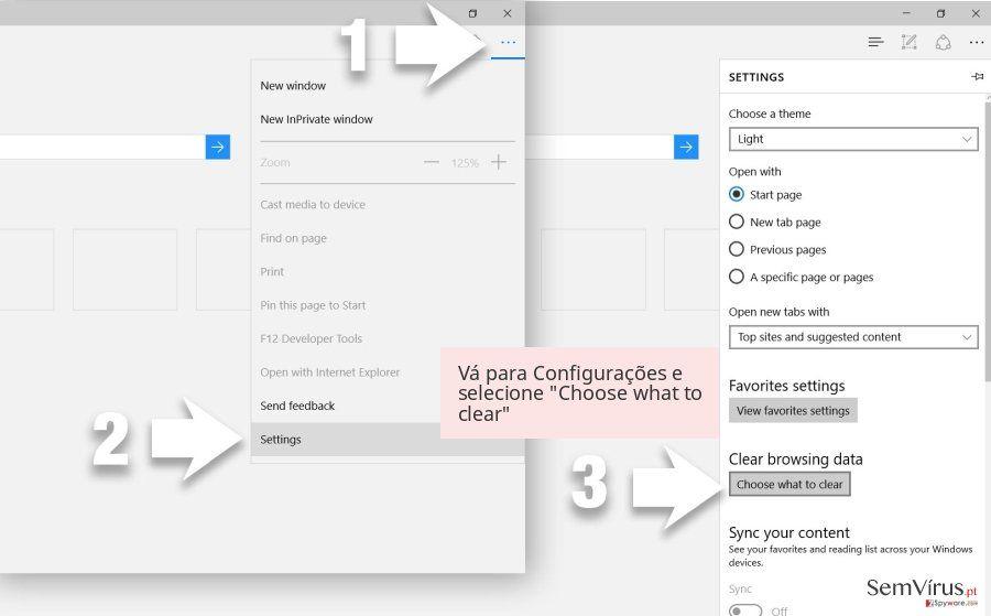 Vá para Configurações e selecione 'Choose what to clear'
