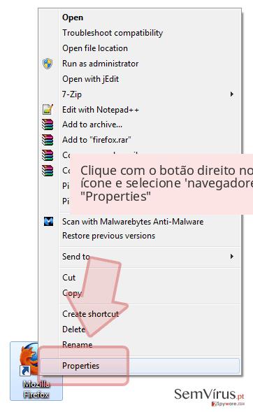 Clique com o botão direito no ícone e selecione 'navegadores 'Properties'