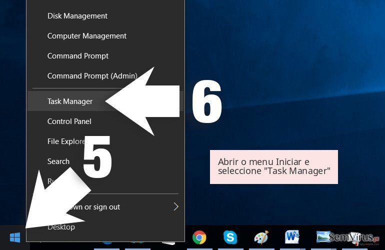 Abrir o menu Iniciar e seleccione 'Task Manager'