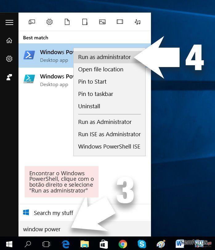 Encontrar o Windows PowerShell, clique com o botão direito e selecione 'Run as administrator'