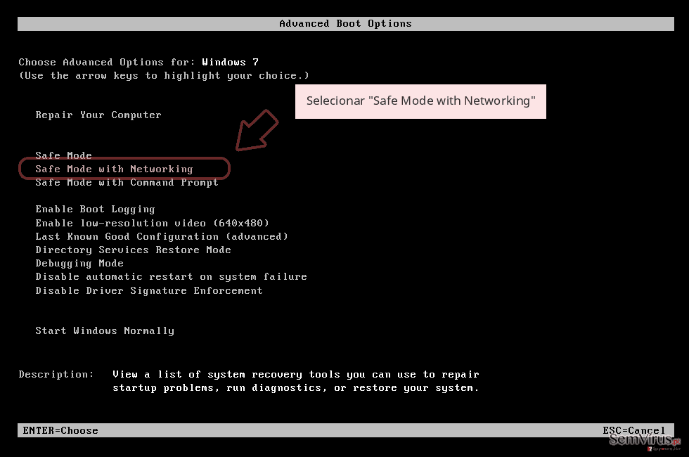 Selecionar 'Safe Mode with Networking'