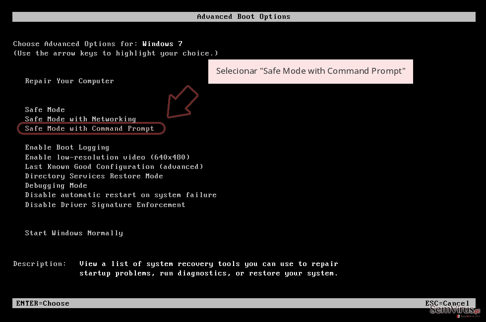Selecionar 'Safe Mode with Command Prompt'