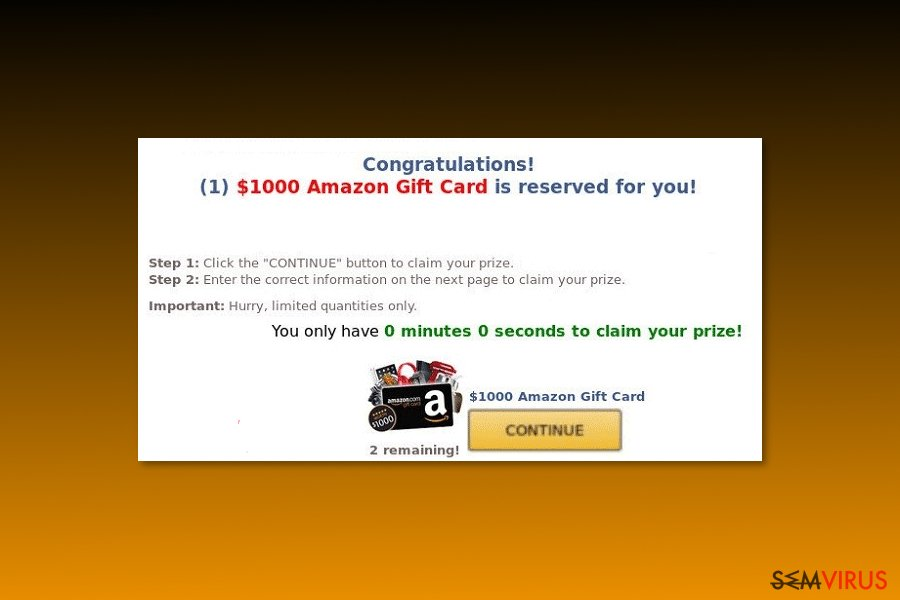 "Exemplo do vírus ""$1000 Amazon Gift Card is reserved for you"""