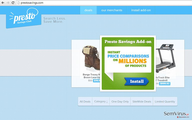 Anúncios de PrestoSavings instantâneo