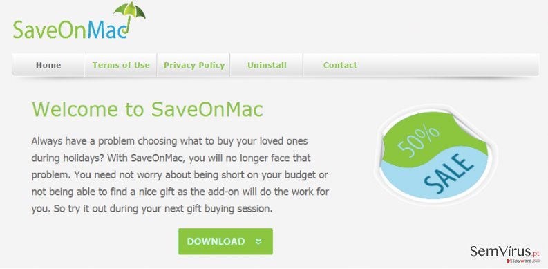 Anúncios de SaveOnMac instantâneo