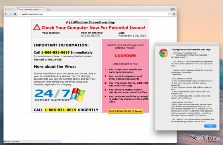 Systemscantools.com virus message