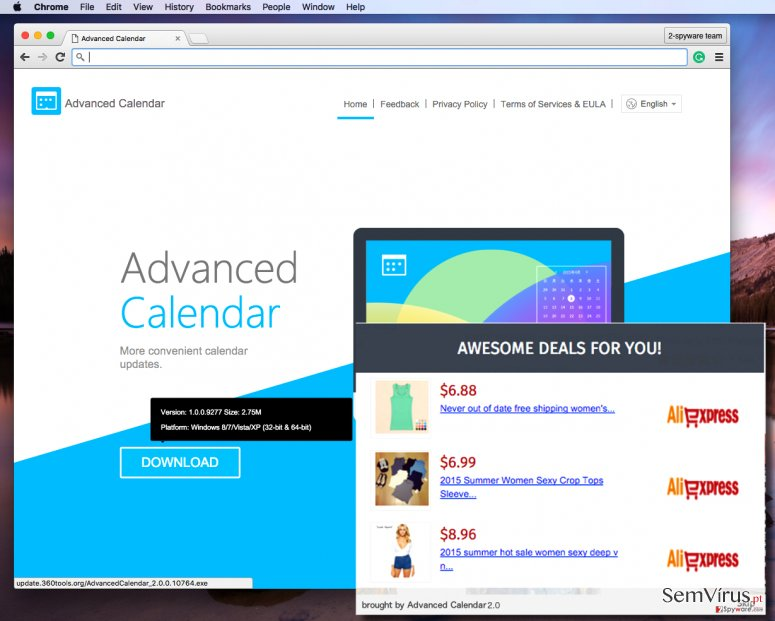 Advanced Calendar 2.0 adware sends annoying pop-up ads