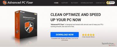 Captura de ecrã do vírus Advanced PC Fixer