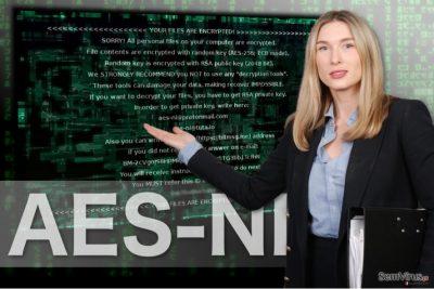 A imagem do ransomware AES-NI