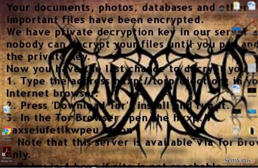 Nota de resgate do ransomware Al-Namrood