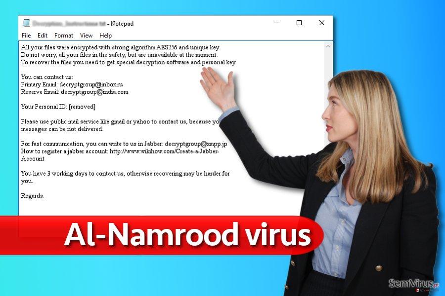 Nota pelo vírus ransomware Al-Namrood