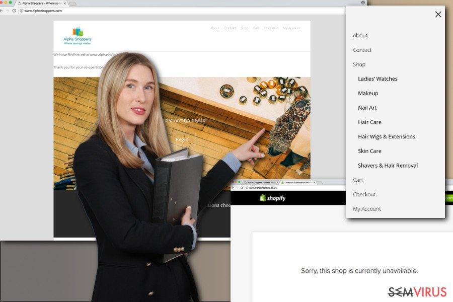 A imagem dos anúncios AlphaShoppers