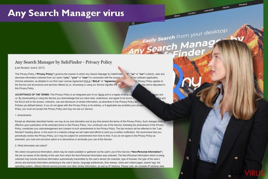 Alterações que o vírus Any Search Manager inicia nos navegadores de rede