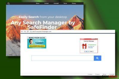 Mostrando um nevagador de rede sequestrado pelo Any Search Manager