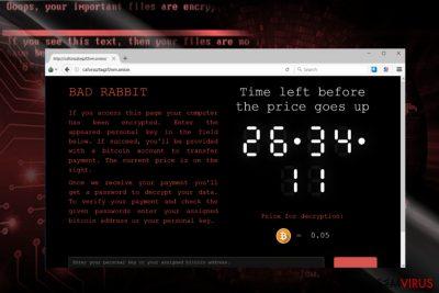 A captura de ecrã do site do pagamento do BadRabbit