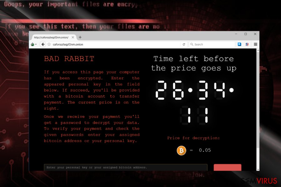 A captura de ecrã do site do pagamento do BadRabbit