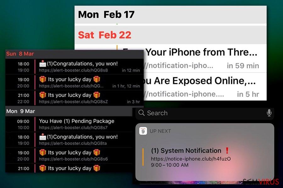 Notificações do vírus do Calendário