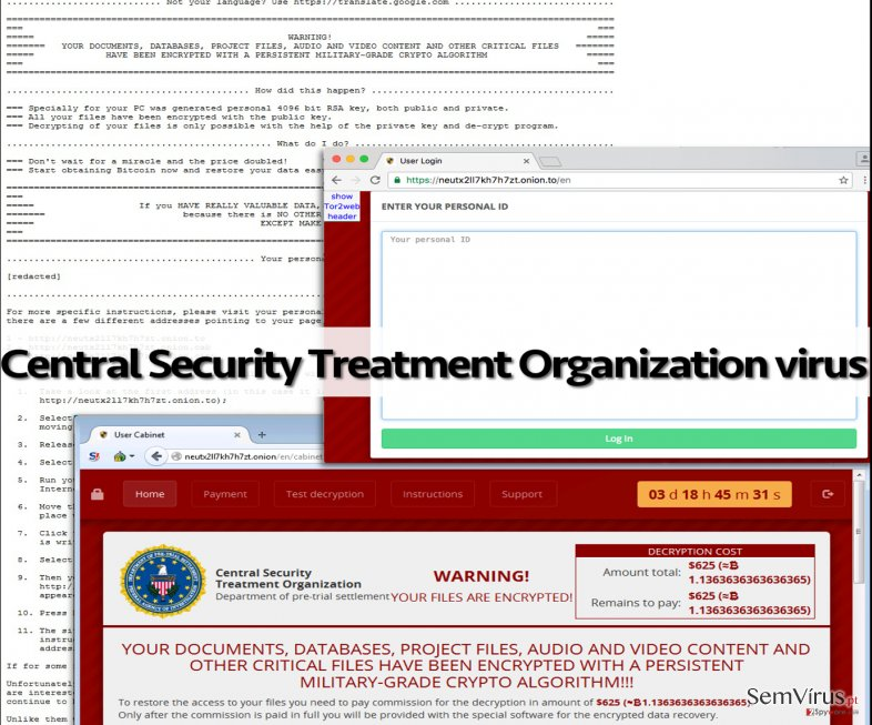 Deceptive Central Security Treatment Organization virus messages