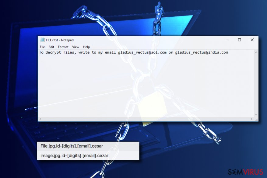 Vírus ransomware Cezar