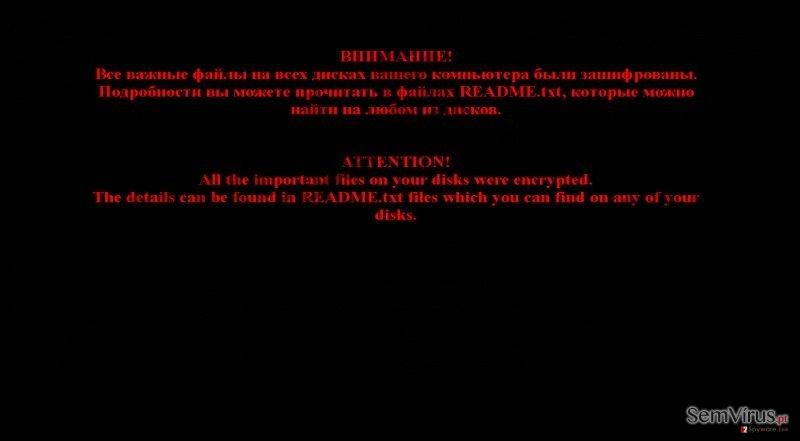 The malicious warning message of Chimera ransomware