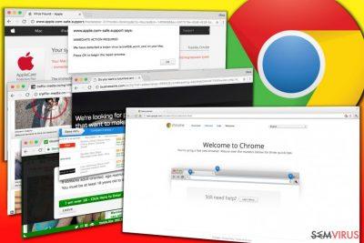 Exemplos de anúncios exibidos pelo adware Chrome