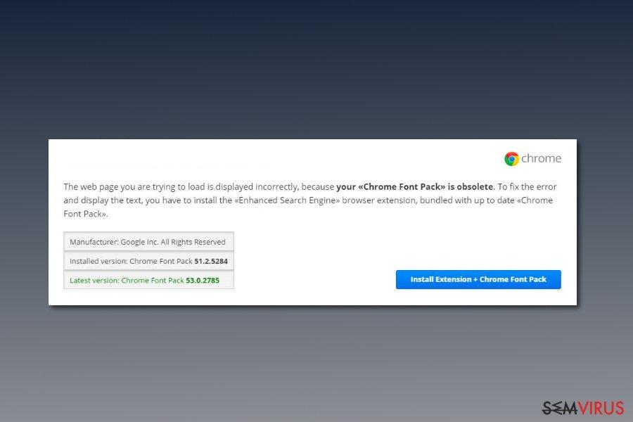 Captura de ecrã do vírus Chrome Font Pack
