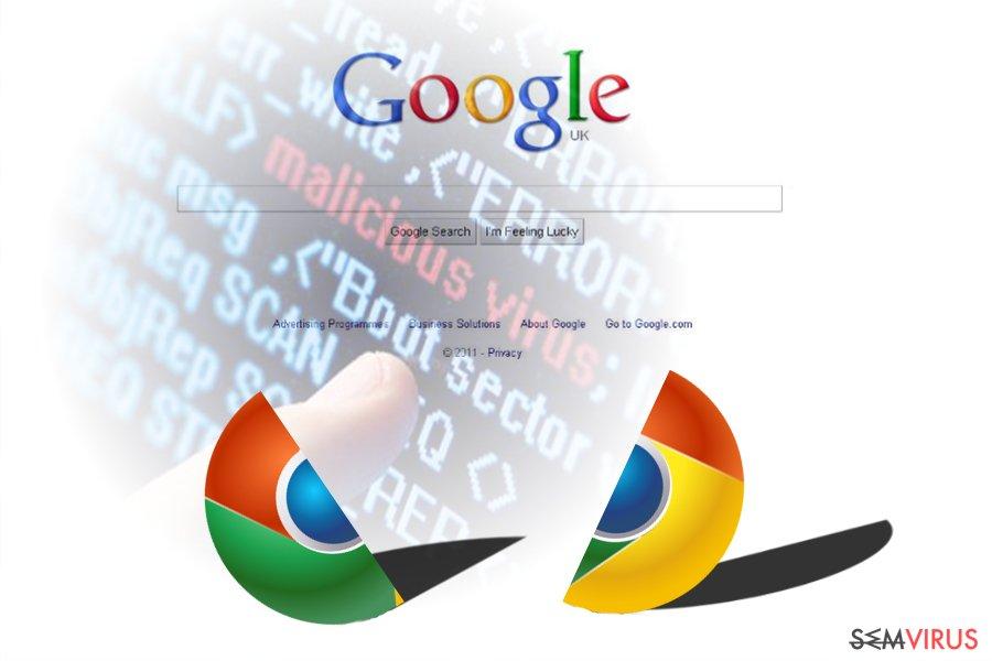 A imagem a exibir o vírus Chrome