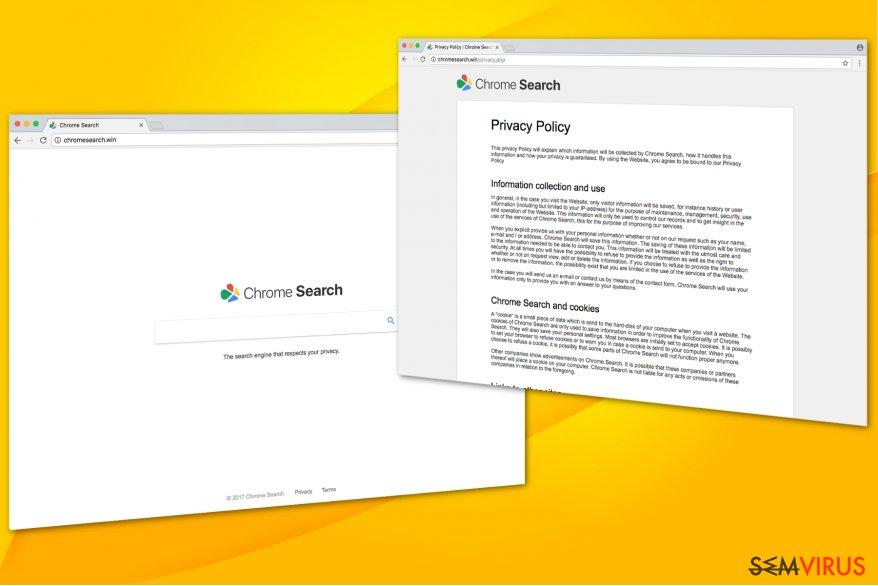Ilustração do vírus Chromesearch.win
