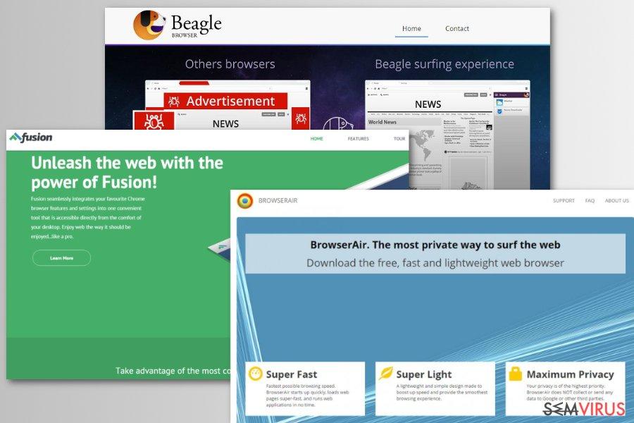 Exemplos de navegadores web fictícios Chromium