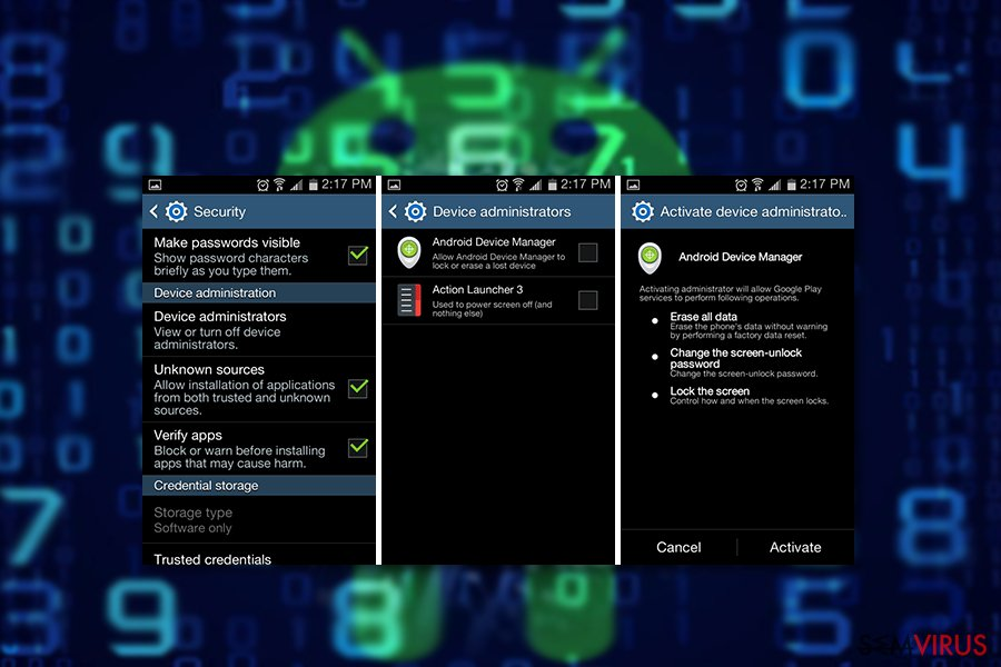 Exemplo do vírus Android com.google.provision