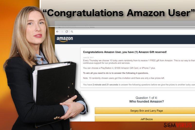 """Ilustração do vírus adware """"Congratulations Amazon User"""""""