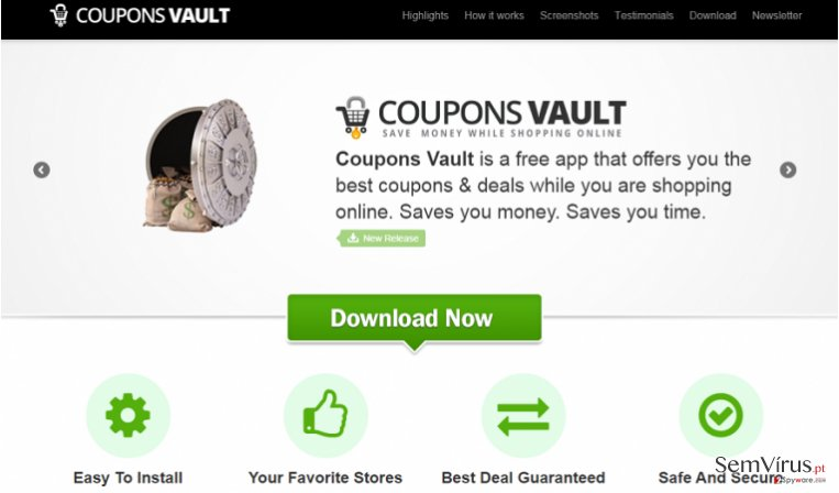Coupons Vault adware instantâneo