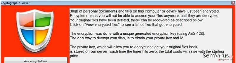 Cryptographic Locker virus instantâneo