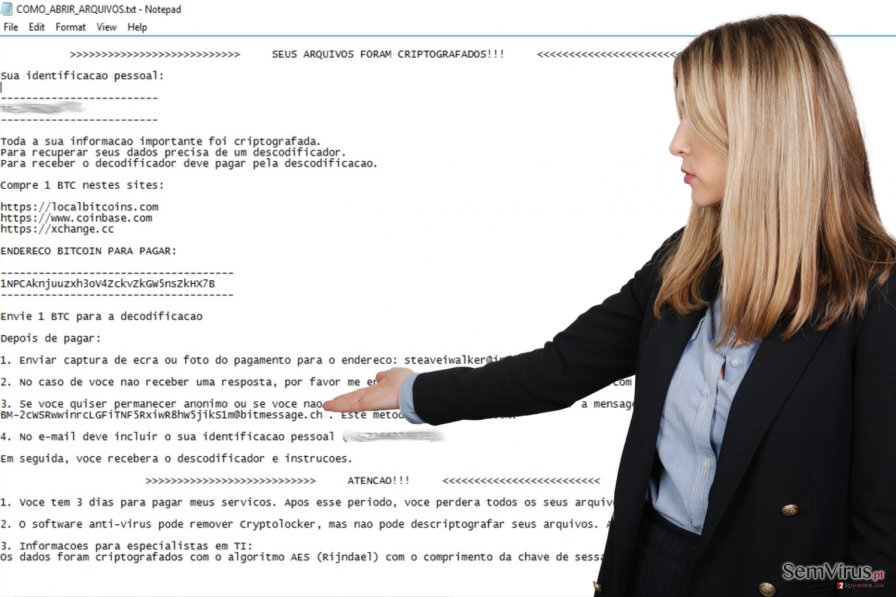Ransomware Cryptolocker Portuguese