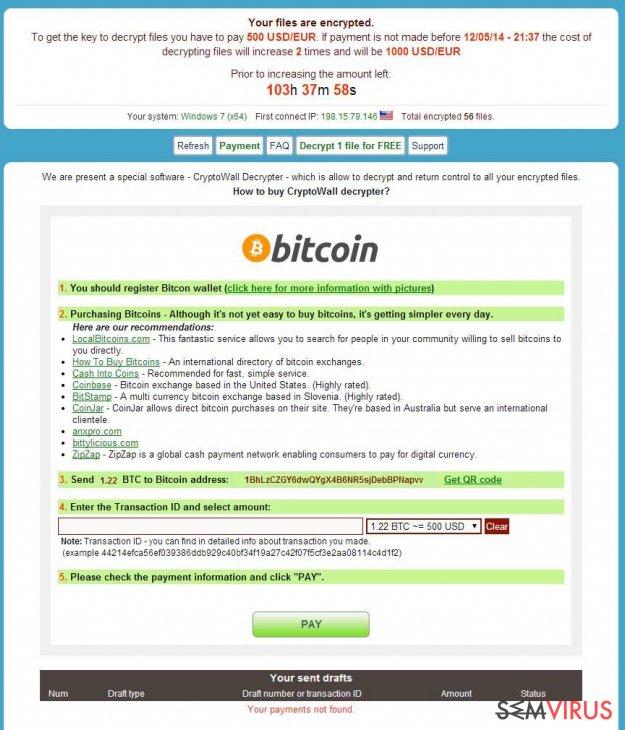 CryptoWall virus instantâneo