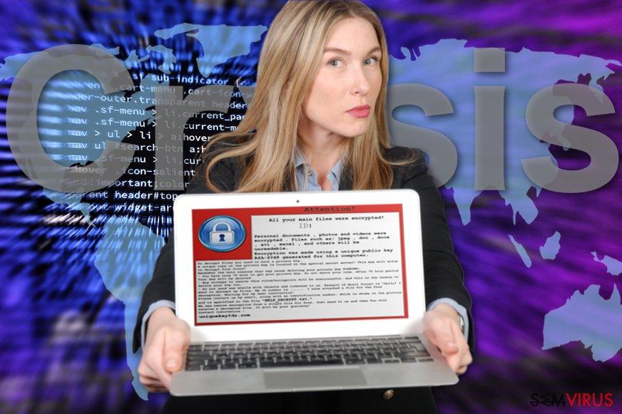 Uma imagem da nota de resgate do vírus ransomware CrySiS
