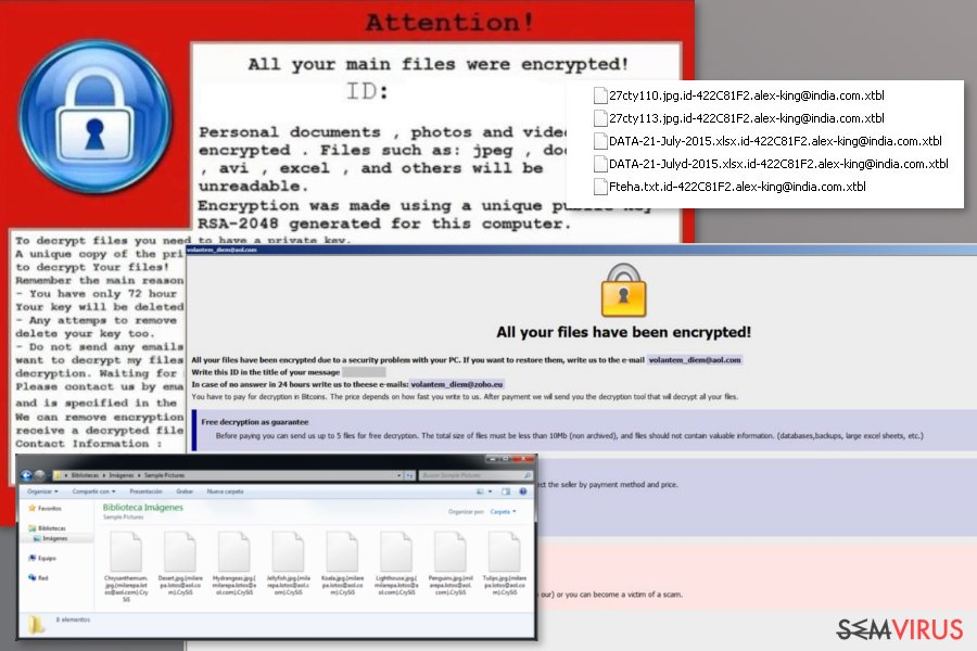 Exemplos do ransomware Crysis