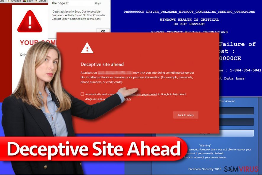 Mensagem Deceptive Site Ahead