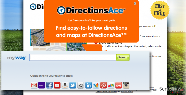 DirectionsAce Toolbar virus hijacks web browsers
