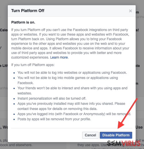 Facebook virus instantâneo