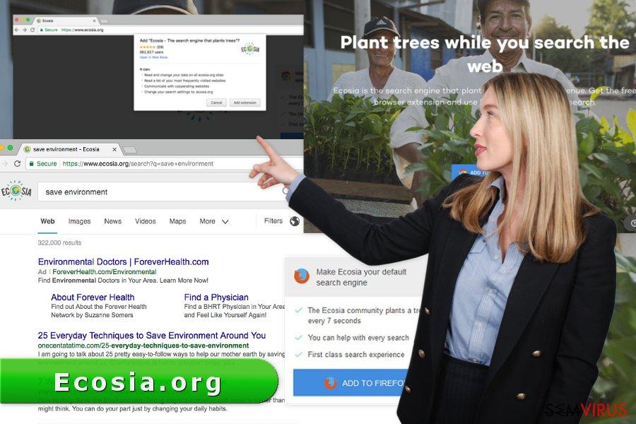 A imagem do vírus Ecosia.org