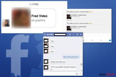 Exemplos do vírus Facebook Message