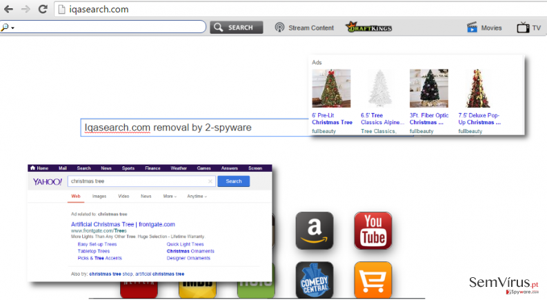 Iqasearch.com virus redirects to Yahoo and displays sponsored search results