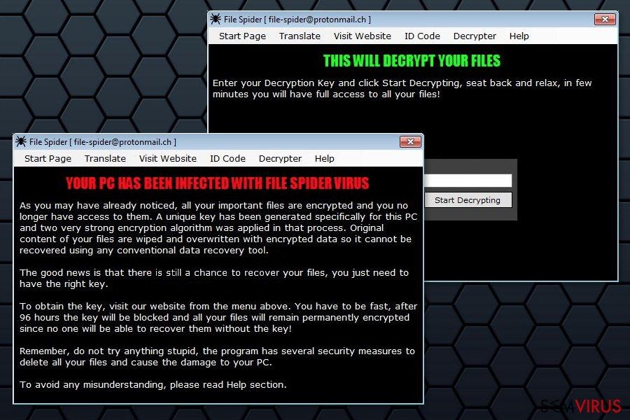 Ilustração do ransomware File Spider