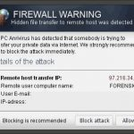 """Firewall Warning"" Pop up instantâneo"