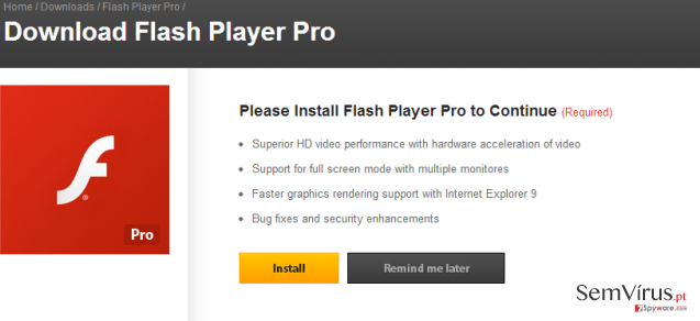 Flash Player Pro virus instantâneo